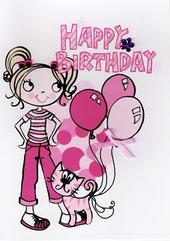 Kids Girl Cat Birthday Card