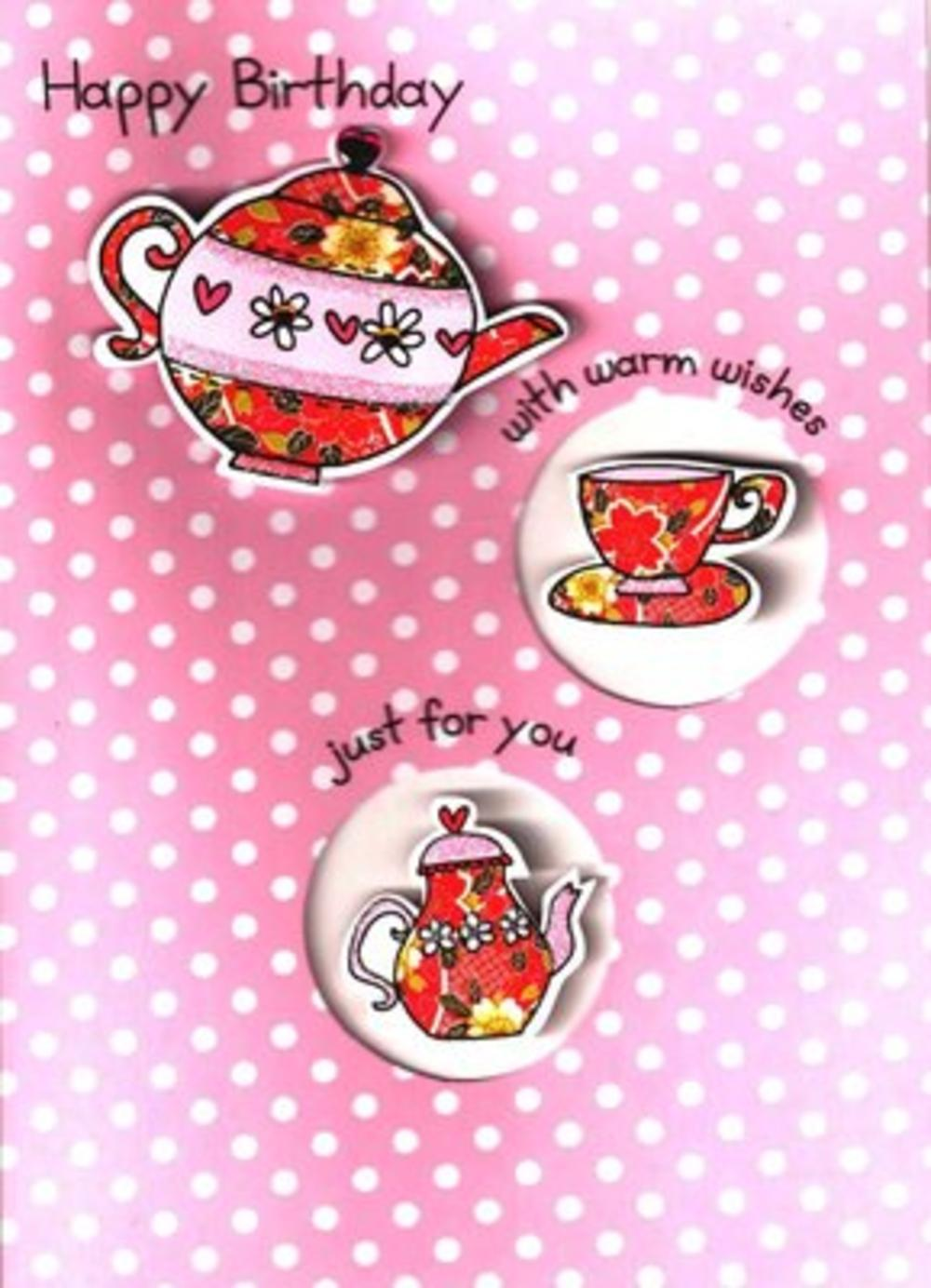 Luxury 3D Teapot Female Birthday Card