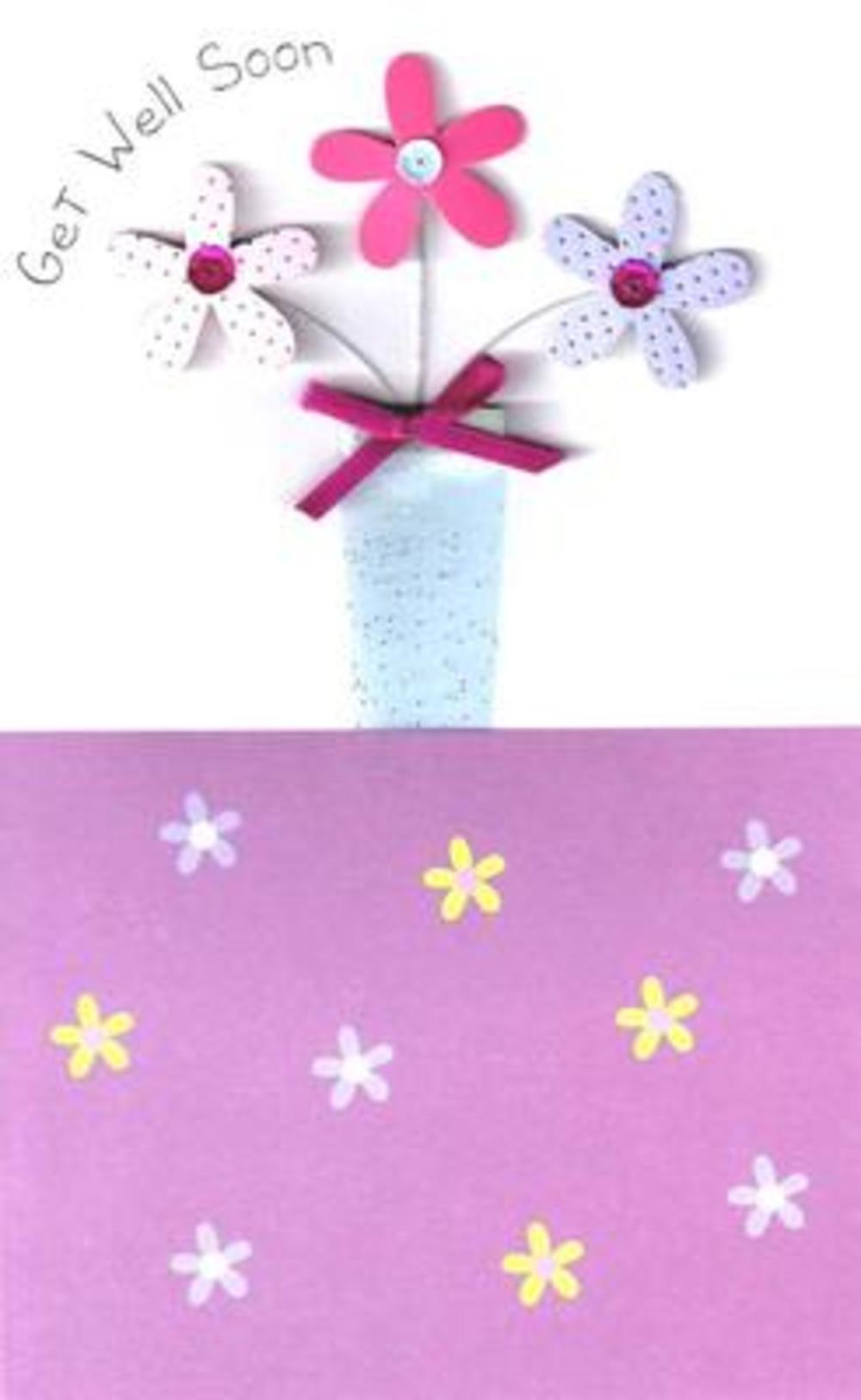 Luxury 3D Get Well Soon Cards Handfinished Embellished Greeting Card