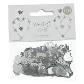 Just Married Metallic Silver Wedding Confetti Sprinkles