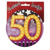 50th Birthday Jumbo Flashing Party Badge