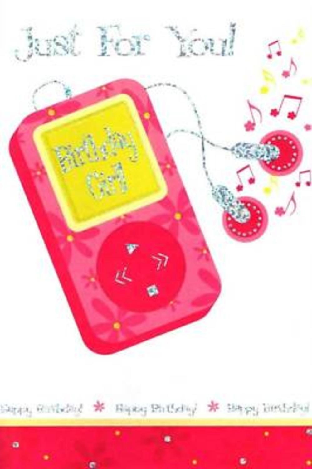 Quality Foiled Pink Cards Birthday Girl Card Ipod Music