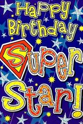 Quality Foiled Cards Open Male Birthday Card Super Star