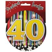 40th Birthday Jumbo Flashing Party Badge