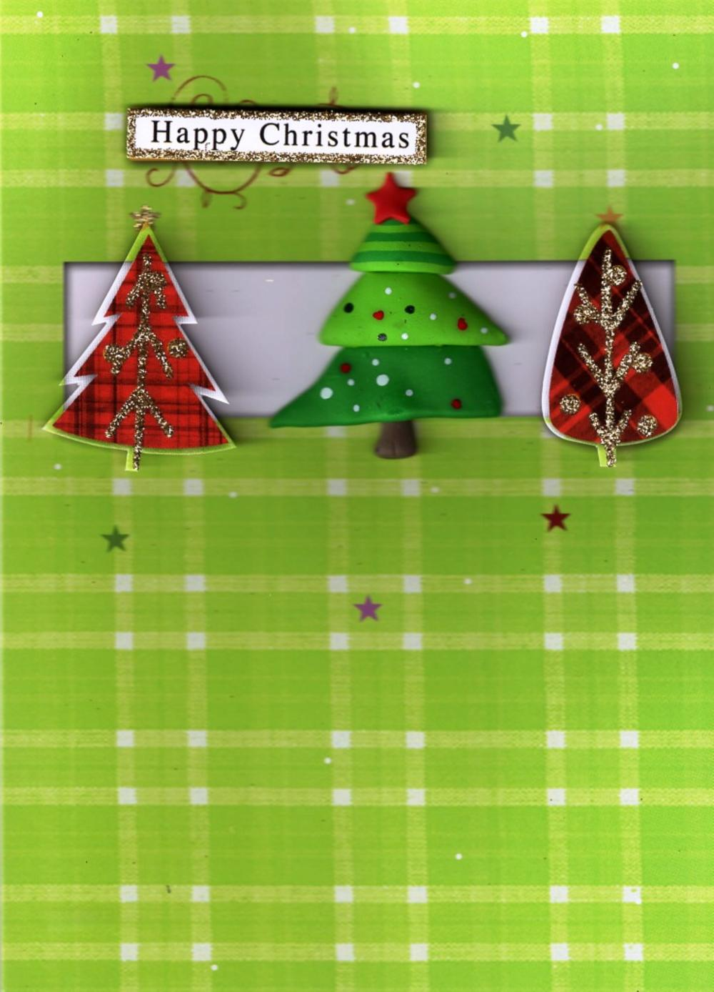 Luxury 3D Xmas Trees Happy Christmas Cards General Open Special Greeting Card