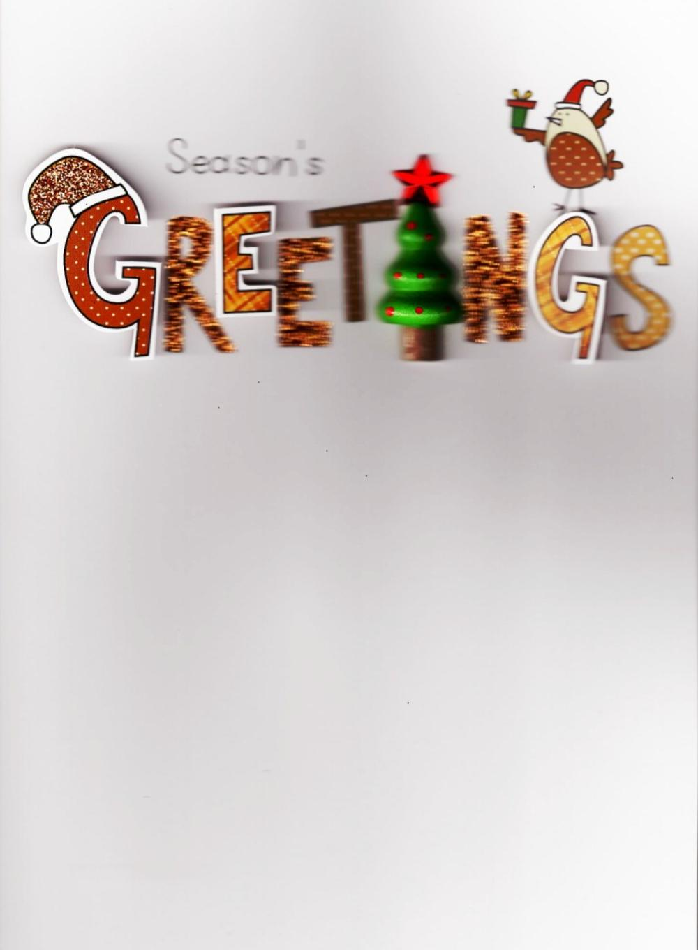 Xmas Greetings Lovely Embellished Christmas Greeting Card