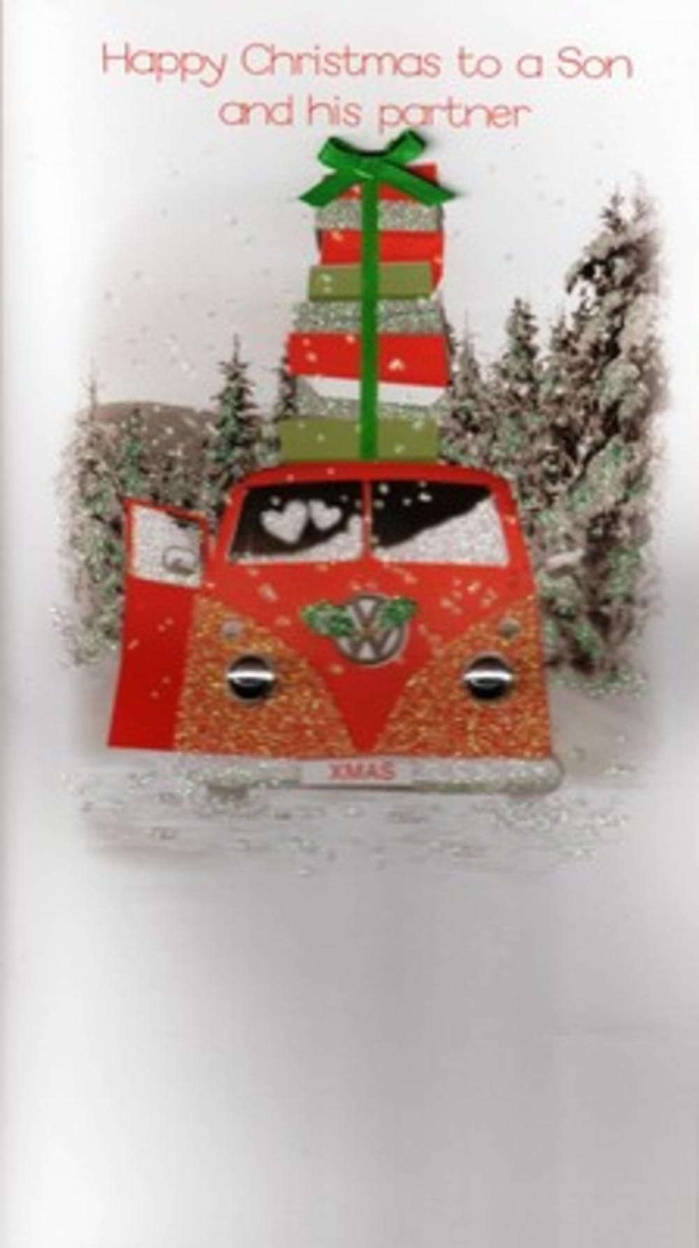 Son & His Partner Luxury Vw 3D Glitter Xmas Christmas Cards Photo Finished Card