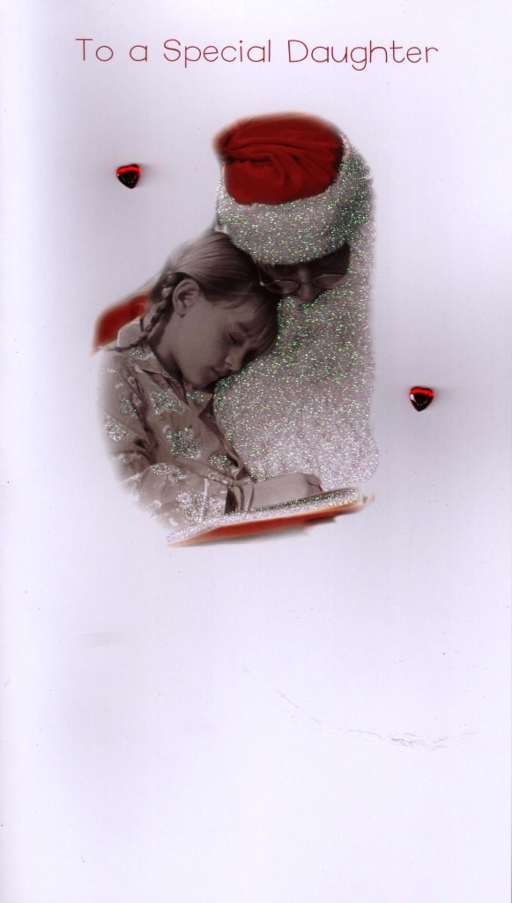 Special Daughter Luxury 3D Glitter Xmas Christmas Cards Photo Finished Card