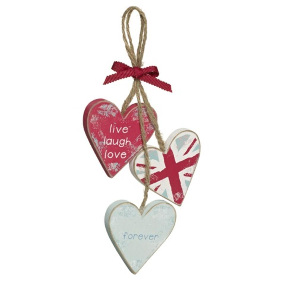 Love Home Live Laugh Love Wooden Hanging Triple Hearts