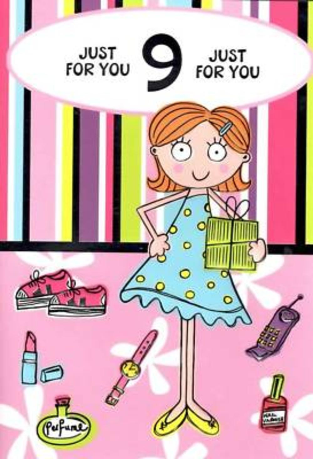9th Birthday Card Girl 9 Today Cards – Birthday Cards for Girl