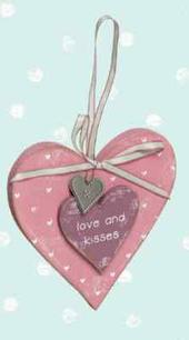 Love Home Love &  Kisses Wooden Hanging Heart Plaque Gift