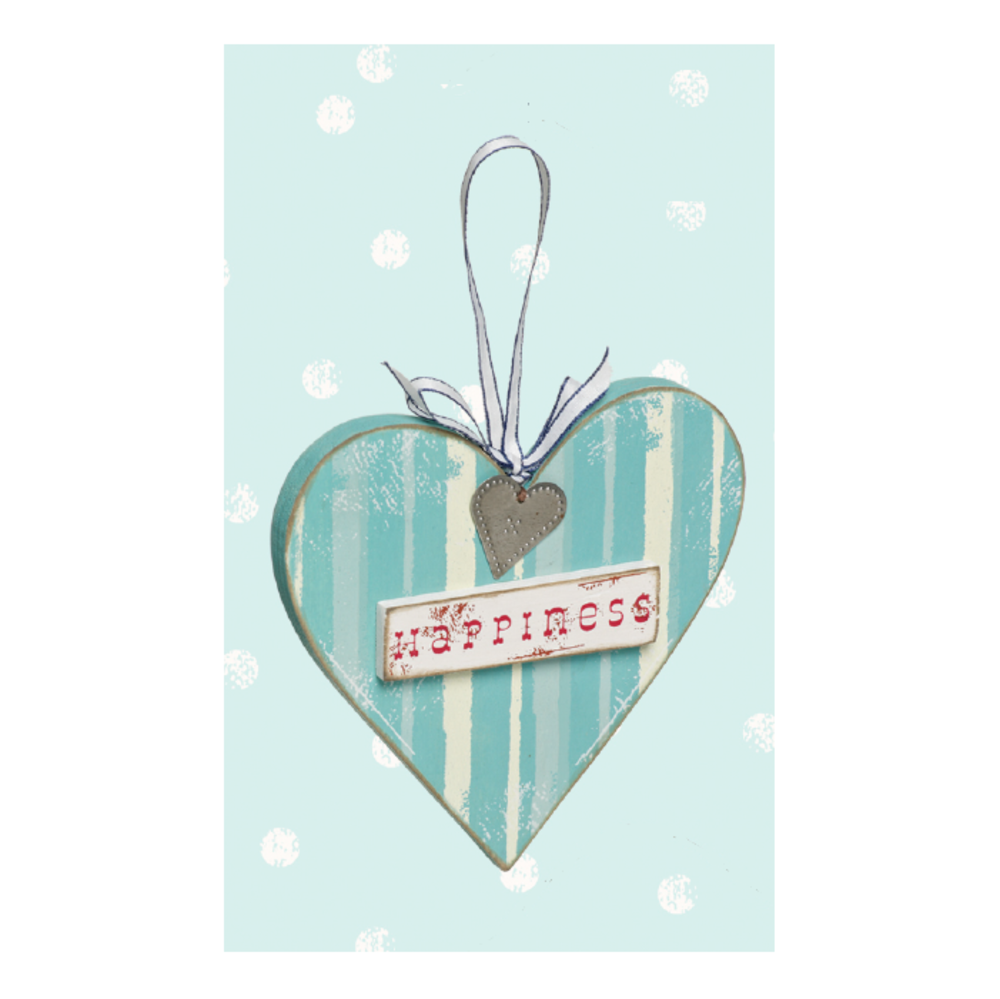Love Home Happiness Wooden Hanging Heart Plaque Gift