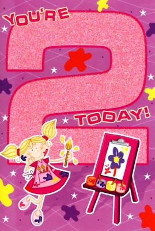 Girl's 2nd Glitter Birthday Card