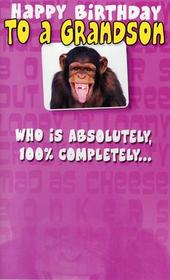 Funny Grandson Birthday Joke Card Ape 100% Nuts