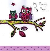 Stunning Owl Mum Friend Hand-Finished 3D Mother's Day Card