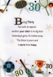 Male 30th Birthday Poetry In Motion Card