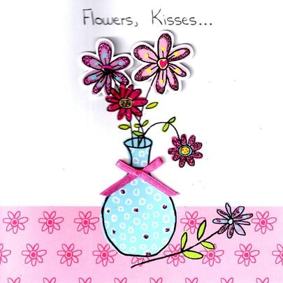 Stunning Flowers Kisses Hand-Finished 3D Mother's Day Card