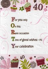 Female 40th Birthday Poetry In Motion Card