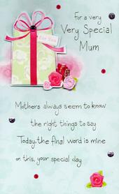 Luxury Very Special Mum Hand-Finished Mother's Day Card