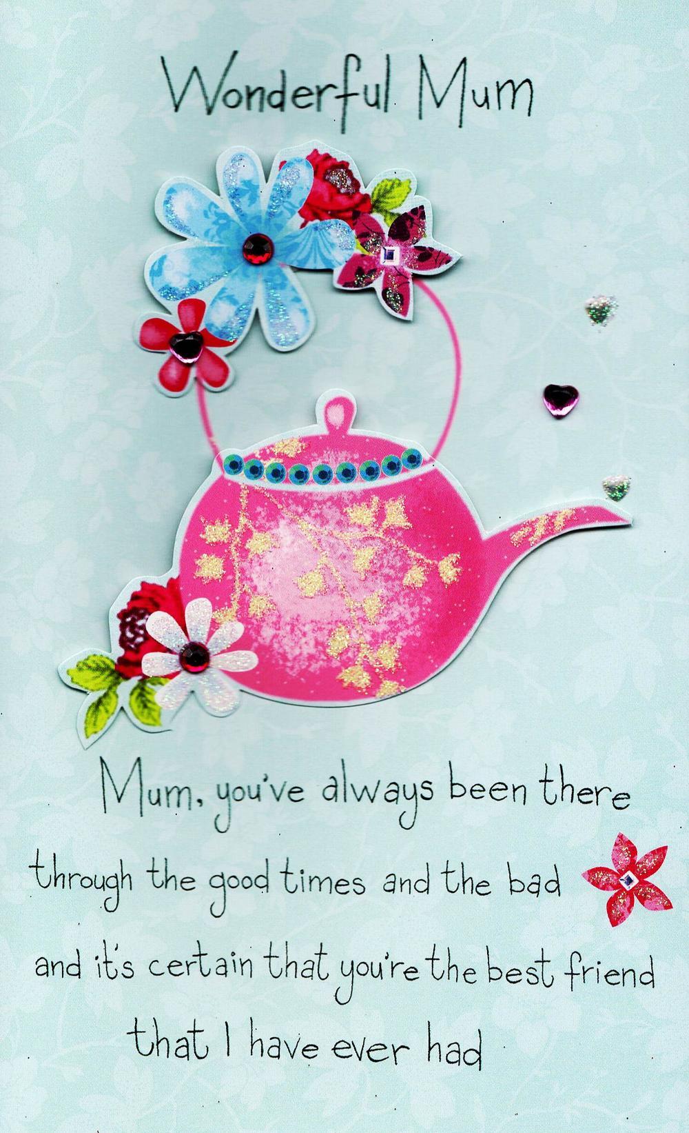 Luxury Wonderful Mum Hand-Finished Mother's Day Card