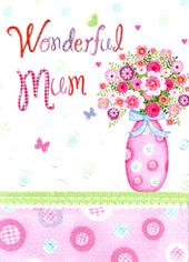 Wonderful Mum Vase Flowers Pretty Mother's Day Card