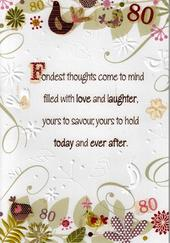 Female 80th Birthday Poetry In Motion Card