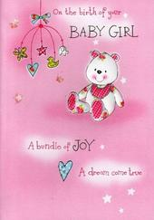 Birth of New Baby Girl Poetry In Motion Card