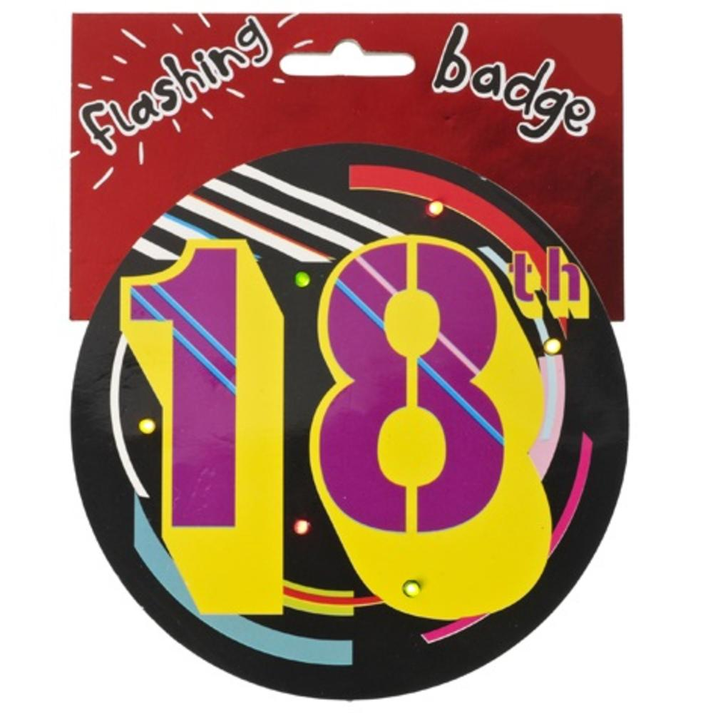 18th Birthday Jumbo Flashing Party Badge