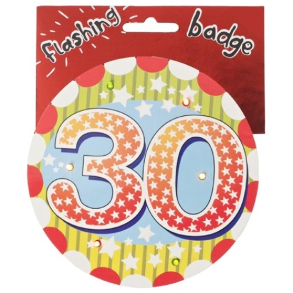 30th Birthday Jumbo Flashing Party Badge