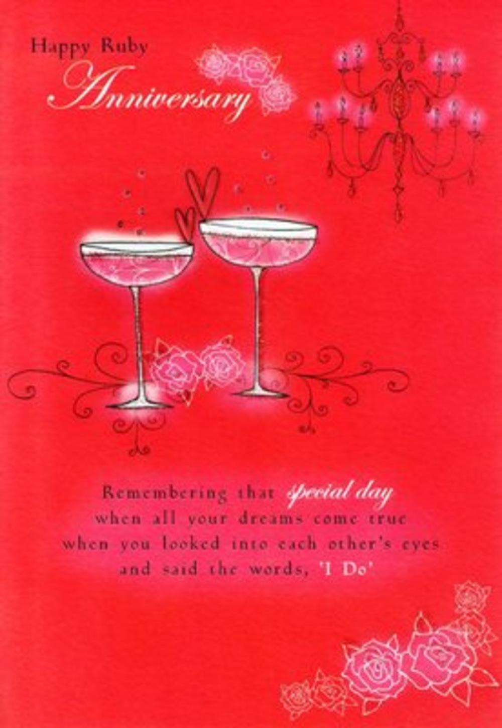 Ruby 40th Anniversary Poetry In Motion Card