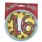 16th Birthday Jumbo Flashing Party Badge