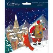 Snowy Santa & Friend Advent Calendar Christmas Card