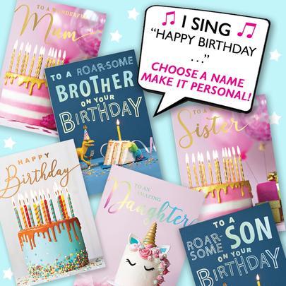 "Personalised Singing Birthday Card ""Happy Birthday To You"" Make It Personal Musical Birthday Cards"