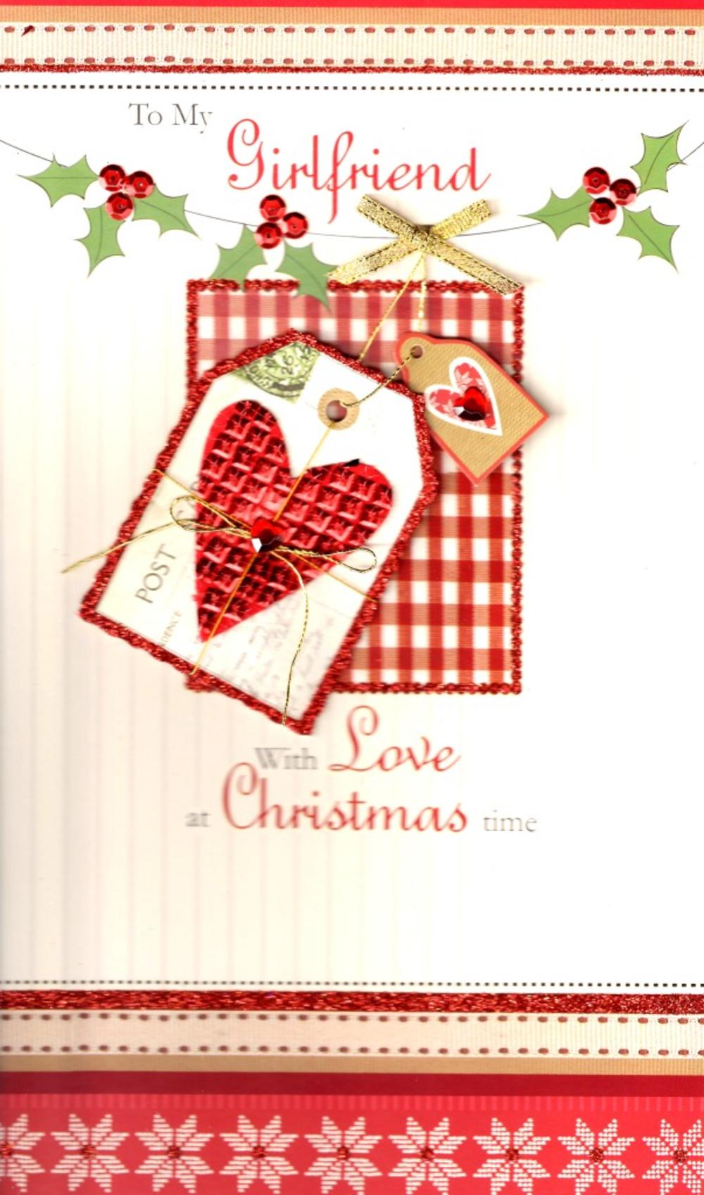 Girlfriend Large Embellished Christmas Card Nice Message
