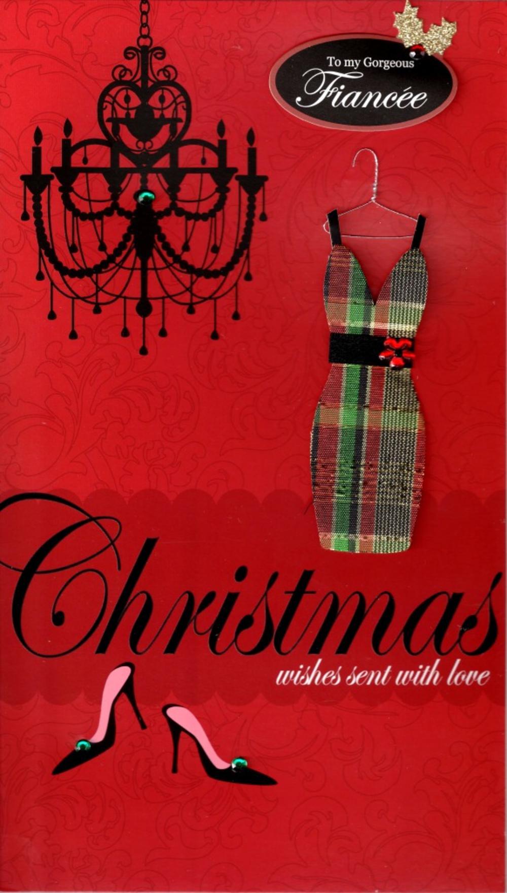 Fiancee Large Embellished Christmas Card Nice Message