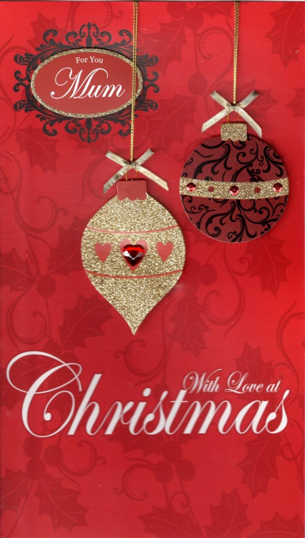 Mum Large Embellished Christmas Card Nice Message