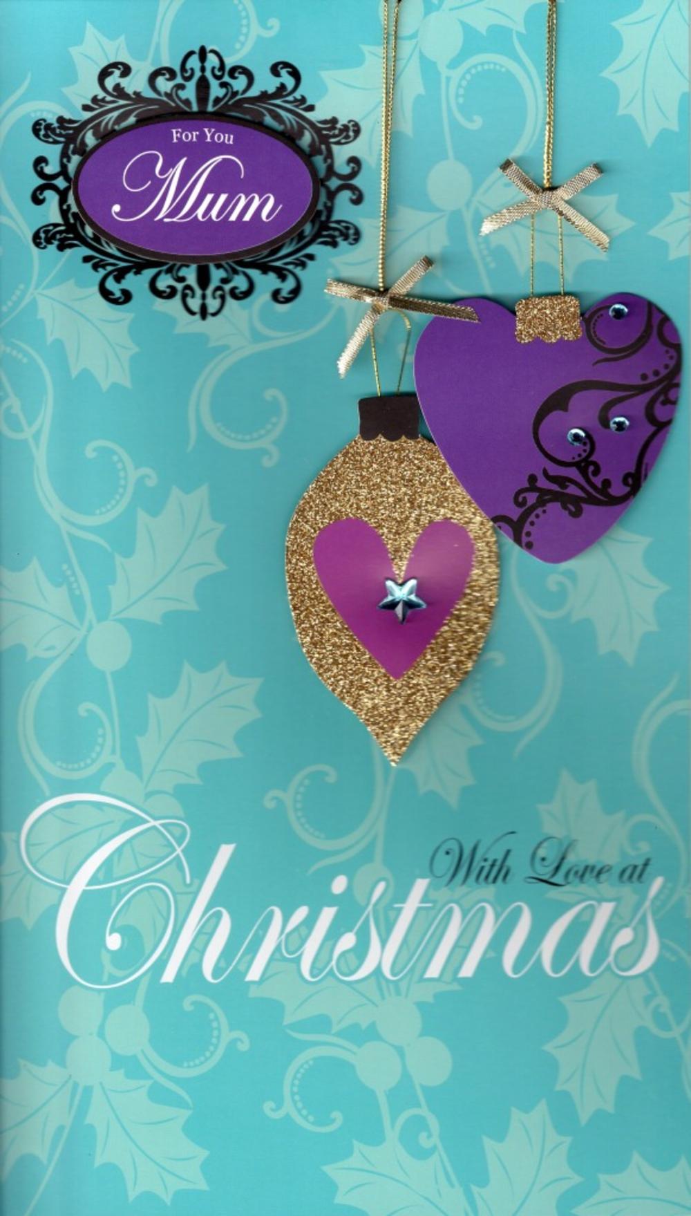 Mum Large Embellished Christmas Card Nice Message