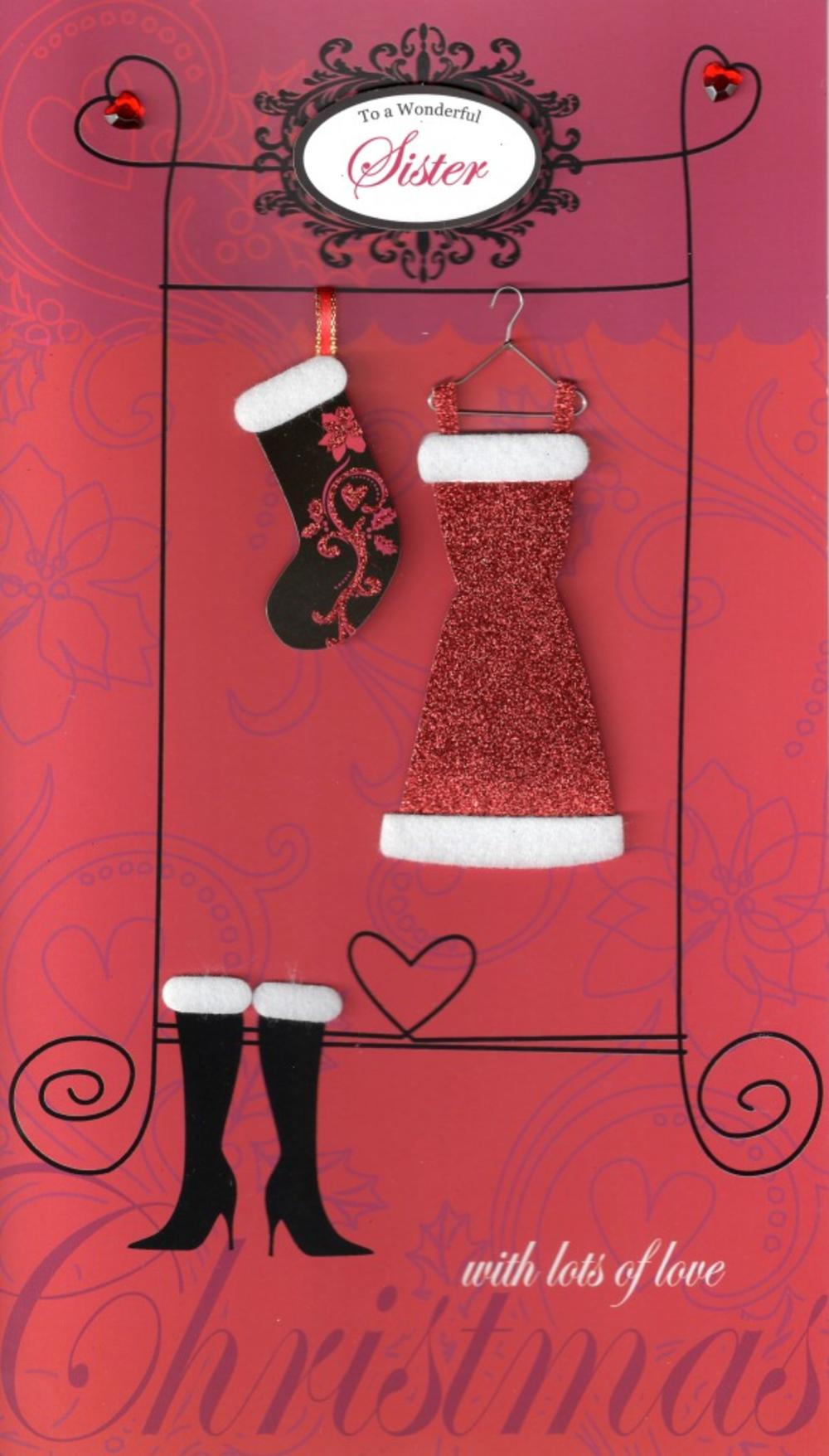 Sister Large Embellished Christmas Card Nice Message
