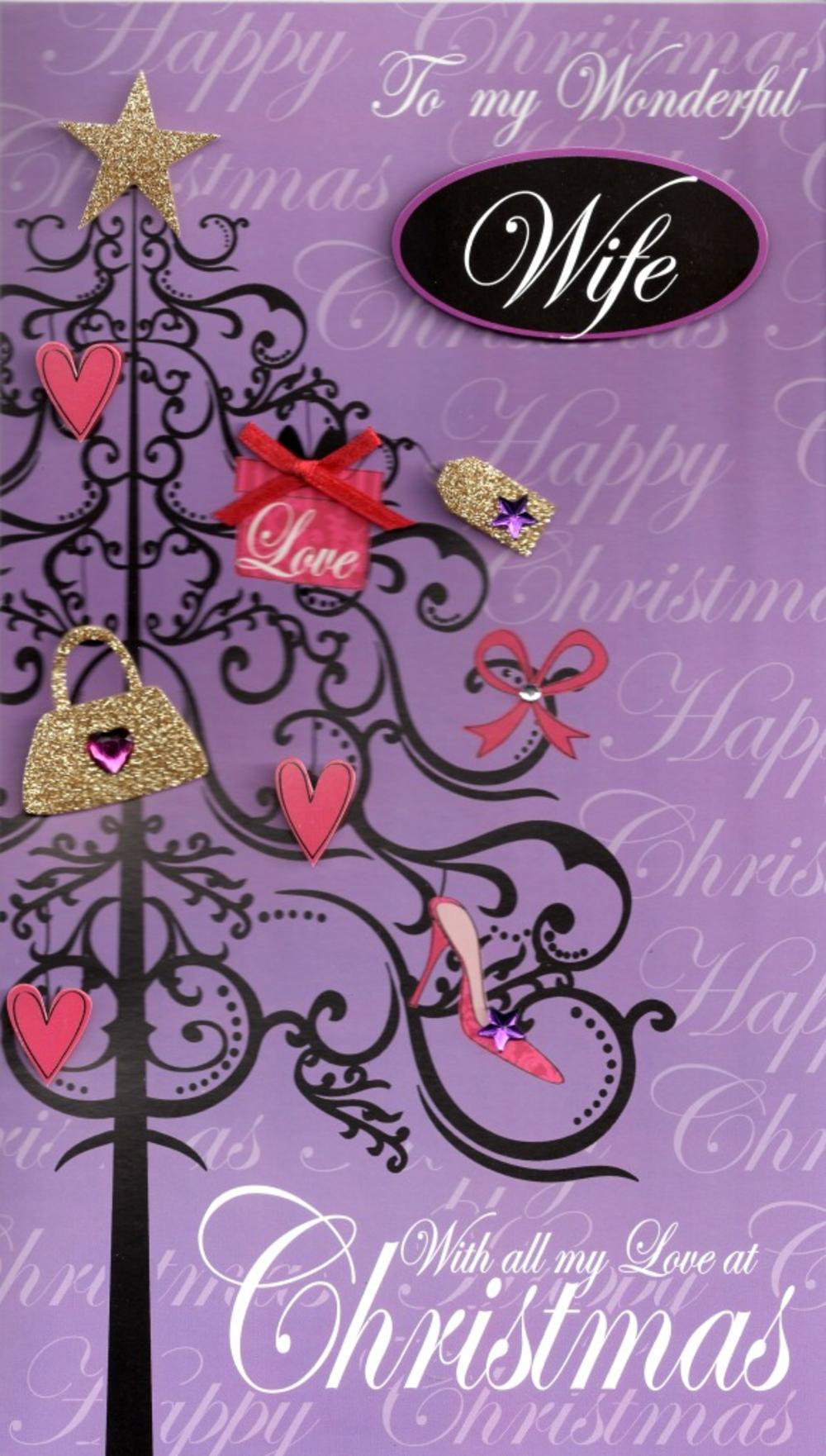 Wife Large Embellished Christmas Card Nice Message