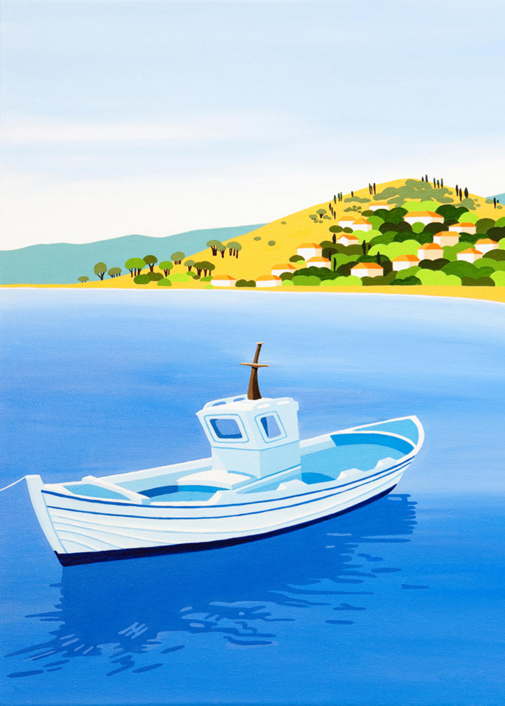 Innocent Art Blue Boat Blank Greeting Card