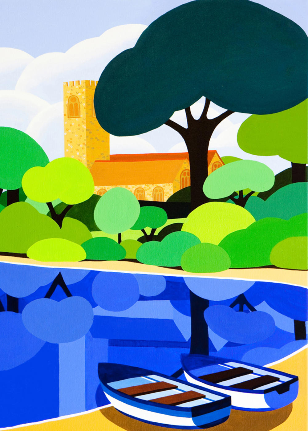 Innocent Art  Church By River Blank Greeting Card