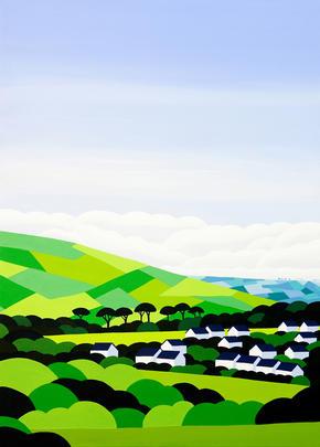 Innocent Art Village Hills Blank Greeting Card