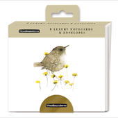 Pack Of 8 Blank Watercolour Wren Luxury Notecards Cards