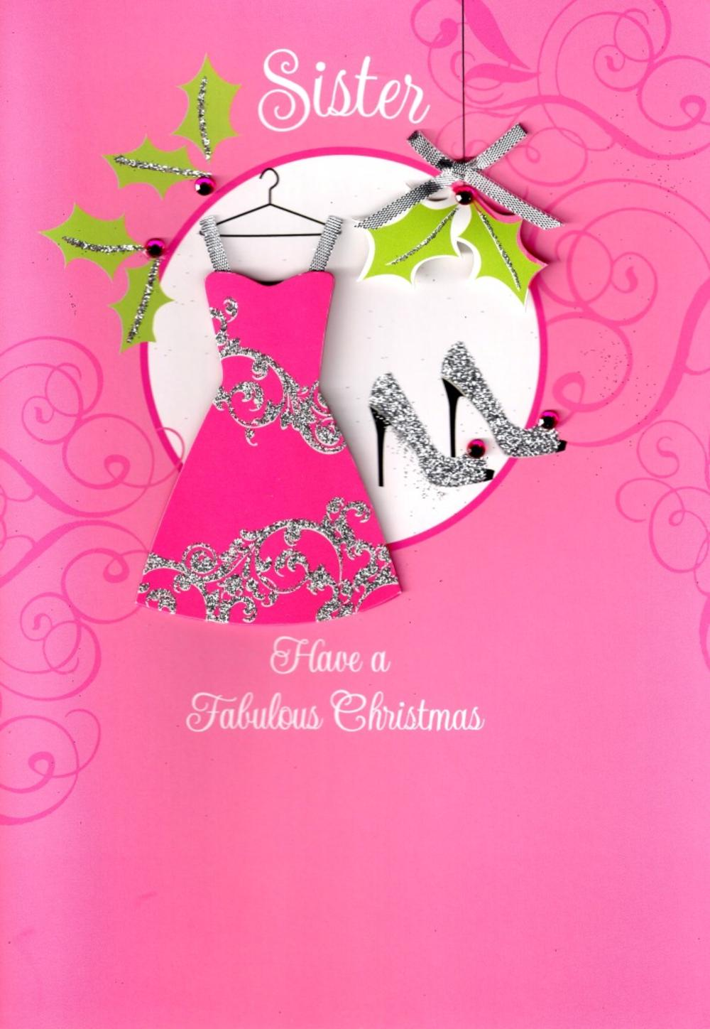 Sister Luxury 3D Glitter Christmas Card Special Family Relations Xmas Cards