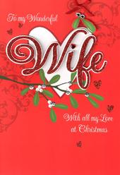Wife Luxury 3D Glitter Christmas Card Special Relations Family Xmas Cards
