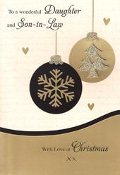 Daughter & Son-In-Law Luxury 3D Glitter Christmas Card Special Family Xmas Cards