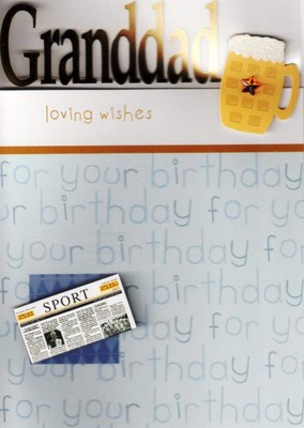 Luxury Special New 3D Handcrafted Granddad Birthday Cards Beer Greeting Card