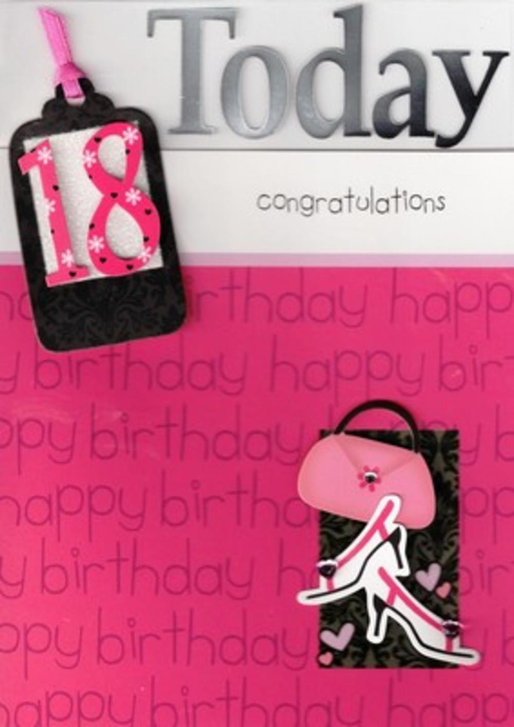 Luxury Handcrafted 18th Birthday Cards Greeting Card Female Pink