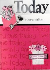 Luxury Special New 21 Handcrafted 21st Birthday Cards Greeting Card Female Pink