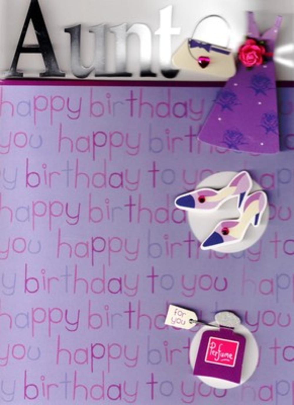 Lovely Aunt Embellished Birthday Greeting Card